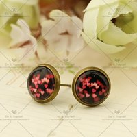 Wholesale Big discount mm Fashion Earrings Stud Earrings Glass cabochon earrings Cartoon stud earrings Grind The Disorderly red D116