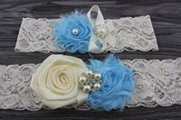 Wholesale 2PCS Bridal Garter Belt Ivory Wedding Garter Set Vintage Lace Keepsake and Toss Garter Crystal Rhinestone something blue