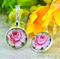 bezel round earrings - Cool Fashion Rose Flower Pattern Earring For Gift resin Cabachon Bezel Perola Art Photo Dome Round Earrings cm