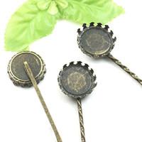 Round Cabochon Cameo 100pcs gros Antique Bronze Réglage Couronne Plateau Barrette Barrette Blank Findingssetting cheveux