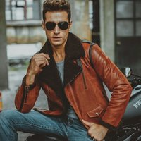 aviator motorcycle jacket - Fall Men s Genuine Leather pigskin motorcycle real leather jackets with faux fur shearling aviator bomber jacket winter coat men