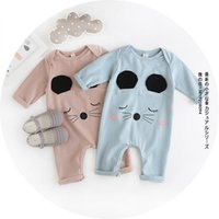 baby cat collar - Babies infant long sleeve romper Autumn new baby boys girls cute cat jumpsuit toddler kids cotton bodysuit baby one piece pink blue A9390