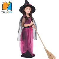 Wholesale Hat Dress Sets Halloween Cartoon Cosplay Children Costumes Suit Witch Stage Dresses Cotton Satin Mesh Kids Wear YAKUYIYI