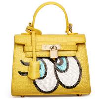 alligator eyes - Euramerican style Named Brand Handbags Cheap Sequins Big Eye Ladies Leather bags Colors to Choose