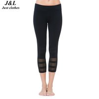 Wholesale High Elastic Fitness Pants Workout Women Summer New Mesh Splicing Black Sexy Capri Pants Outdoor Sport Running Training Trousers
