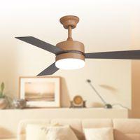 Wholesale European ceiling fans lights led inches cm teak color three blade ABS fans remote control indoor led ceiling fan lighting V V