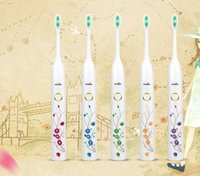 Wholesale 2016 Hot New Waterproof Ultrasonic Electric Toothbrush Healthy Clean Rechargeable Power with two Brush Heads