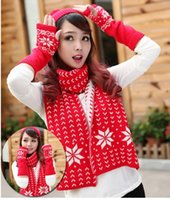Wholesale Snow Scarves Hats Gloves Three Piece Autumn And Winter Outdoor Lovely Thick Warm Three piece Outdoor Sports Riding Comfort Windproof Suit