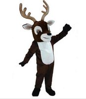 Wholesale TOP quality as Reindeer mascot costume EVA cartoon adult size animal brown cartoon for Mardi Gras Carnival party fancy dress