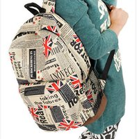 backpack banners - New style Fashion Unisex Backpacks th of July American US Flag newspaper Map Star Banner Backpack Schoolbags cm shipping E1092