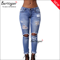 Wholesale Burvogue Casual Jeans for Women Skinny Jeans with holes Slims Ripped Leggings Pants Butt Lifter Denim Jeans Hole Knee