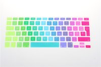 Wholesale Gradient Rainbow Waterproof EU UK Layout Keyboard Protector Cover Stickers Skin For MacBook Pro Retina Air