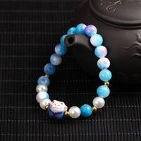 Wholesale 2016 New Arrival Beaded Bracelets Beaded Jewelry Bead Strands Riverstone Material With Lucky Cat Pendant Jewelry For Women