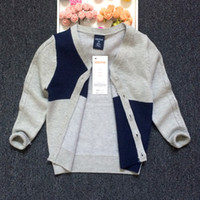 Wholesale Baby Boys Cardigan Kids Sweaters Knits Tops Children Clothing Autumn Winter Jacket V Neck Cardigans Outerwear Knitwear Coat