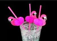 Wholesale 50pcs Flamingo on Paper Straws Wedding birthday Engagement Hawaiian Luau Decoration Tropical Drinks tea party favors The Disposable Str