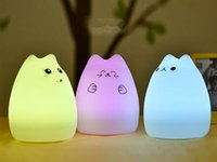Wholesale 2016 fashion USB Rechargeable Colorful Silicone Animal Night Light Cute Cat Soft Table Lamp LED Light For Kids Baby Nursery
