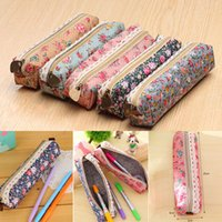 Cheap Wholesale-2016 New Design 1 PC Girls Floral Lace Pencil Case Fashion Coin Purse Portable Cosmetic Makeup Pouch Bag Free Shipping