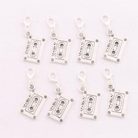 bead tape - 2016 hot x16 mm Tibetan silver Music Cassette Tape Lobster Claw Clasp Charm Beads Jewelry DIY C258