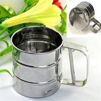baking sifter - Newest Stainless Steel Mesh Flour Sifter Mechanical Baking Icing Sugar Shaker Sieve Tool Cup Shape