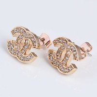 alphabet factory - Hot Sale Women Fashion Gold Stud Earrings With AAA Zircon And K Gold Plating Brand Stud Earrings Jewelry Factory