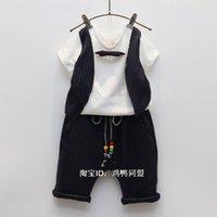 Cheap Hug Me Kids Clothes Sets 2016 New Summer Boy Short Sleeve Cotton T-shirt + Stripe Short Children's Outfits & Sets MK-669