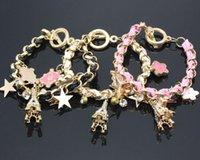 Cheap Korean version of the diamond pendant poker bracelet Korean star flower braided leather bracelet