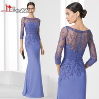 Wholesale Vintage Lilac Evening Dresses Real Picture Heavy Beaded Crystals Plus Size Three Quarter Sleeve Prom Gown