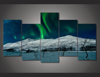 aurora oil - 5 Set No Framed HD Printed aurora borealis Scenery Painting wall art room decor print poster picture canvas ny