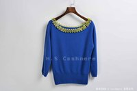 Wholesale Women fashion cashmere sweater boat neck with handmade wave design hot sale knitwear elegant pullover stylish sweater dimond blue