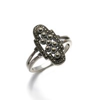 antique marcasite jewelry - Antique Thai Silver Ring with Marcasite Iron Stone women fashion accessory jewelry RS03053