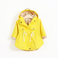 Wholesale 2016 New Spring Cute Baby Girl Coat Print Cartoon Graffiti Hooded Zipper Girl Jacket Full Sleeve Toddler Girl Outerwear