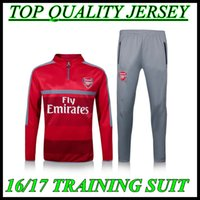 arsenal brand - 2016 Arsenal training suit colour red Jogging sportswear brand workout clothes S M L XL