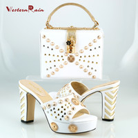 african sandals - WesternRain Fashion African Party Shoe And Bag Set White Black Red Color Nigerian Women Sandal Italian Shoes With Matching Bags