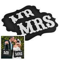 Wholesale 1 Set Mr Mrs Wedding Banner with Ribbon Party Decoration DIY Photo Booth Props Flag Wedding Decor Supplies CM