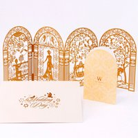 Wholesale New Arrival Exquisite Laser Cut Flower Wedding Invitation Cards Personalized Gold Red Hollow Wedding Party Printable Invitation Cards