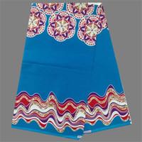 batik lot - Amazing sky blue print style real African batik wax fabric for dress NWF91 yards