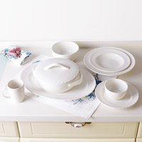 asian dishes - Set of SUPER HIGH QUALITY Chinese Asian Creamy White Porcelain Tableware Set Dinnerware Set Ceramic Mugs Dishes Bowls