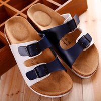 adhesive cork button - 2016 summer cool men s fashion leisure beach cork slippers double deer antler skin antiskid high quality household slippers