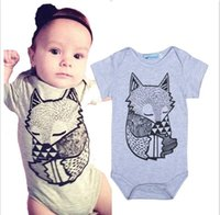 animal figure set - 2016 summer style baby clothing Boys Girls Rompers baby boy clothes Little Fox Figure Short sleeve suits clothing set hight quality free shi