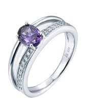 amethyst promise rings - Hot Sale Women Wedding Engagement Promise Ring Rhodium Plated with Amethyst Clear CZ Fashion Fine Jewelry for Women Party DL02230E