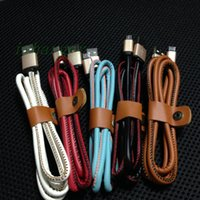 Cheap NEW Leather cable sync data charger cord for Samsung alloy head cable micro usb V8 1M 3FT