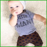 baby t shirt men - little man letters print baby boys clothes suits blue grey short t shirts children long pants grometric outfits