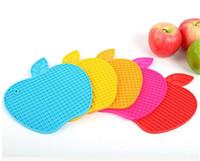 apple coaster - 50pcs Silicone Apple Shape Coasters Pads Cushion Bowl Wine Glass Mug Placement Cup Mats