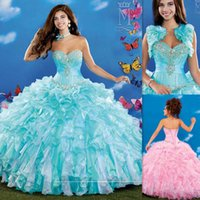 Wholesale 2015 Masquerade Ball Gowns Quinceanera Dresses Light Sky Blue Organza Sweetheart Neckline With Jacket Corset Sweet Sixteen Girls Party Dress
