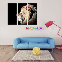 animal head pictures - 3 Picture Combination Lion Head Portrait Wall Art Painting Pictures Print On Canvas Animal The Picture For Home Modern Decor