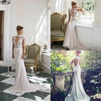 art deco wedding dresses - 2017 Art Deco inspired Neck High Collar Lace Chiffon Mermaid Wedding Dresses Cap Sleeves Hollow Neck Backless Sash Long Beach Bridal Gowns