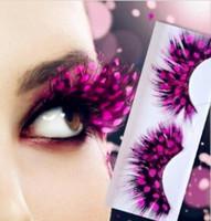 Acheter Cils de scène-Gratuit 42 types cils faux cils Yeux Maquillage Feather Colorful Feather de beauté pour la fête des points rouges exagération de la scène