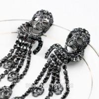 Wholesale New Design Jewelry Fashion Large Pendant For Women New Retro skull Fringed Ladies Long Earrings