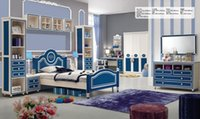 wood furniture - Brand New Youth kids Teenage Children Soild Oak Wood Princess Blue Oak MDF Kids Bedroom Furniture Set
