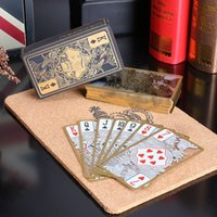 Wholesale waterproof transparent pvc plastic poker gold edge playing cards dragon card novelty high quality gift